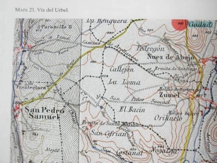 Mapa de caminos romanos de la zona.